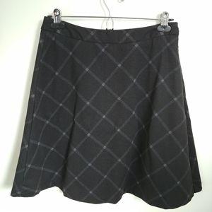 Mario Serrani Italy Black Plaid A-Line Skirt, M